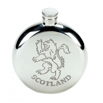 Personalised  Scotland Lion 4oz Pewter Round Hip Flask Perfume Sample