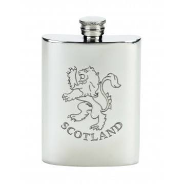 Personalised Scotland Rampant Lion 4oz Pewter Hip Flask Simple Perfume Sample