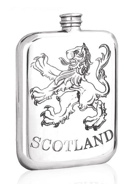 Personalised Scotland Rampant Lion 6oz Pewter Hip Flask