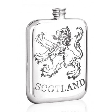 Personalised Scotland Rampant Lion 6oz Pewter Hip Flask Perfume Sample