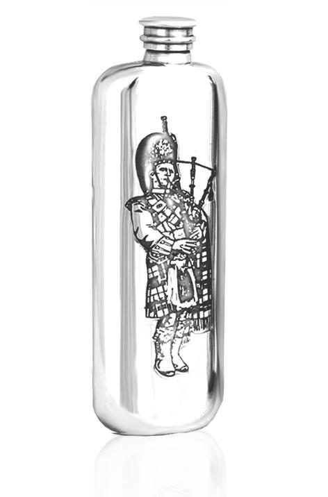 Personalised Scotland Scottish Piper 4oz Pewter Wedge Hip Flask