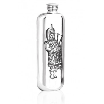 Personalised Scotland Scottish Piper 4oz Pewter Wedge Hip Flask Perfume Sample