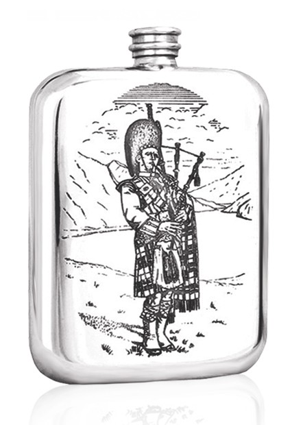 Personalised Scotland Scottish Piper 6oz Pewter Hip Flask