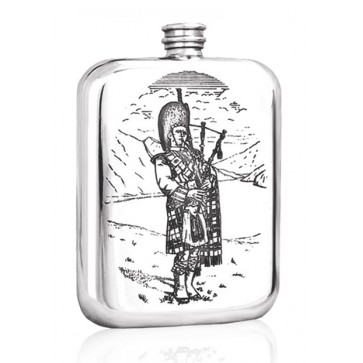 Personalised Scotland Scottish Piper 6oz Pewter Hip Flask Perfume Sample