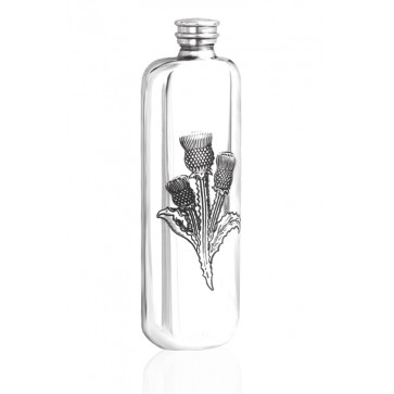 Personalised Scotland Scottish Thistle 4oz Pewter Wedge Hip Flask Perfume Sample