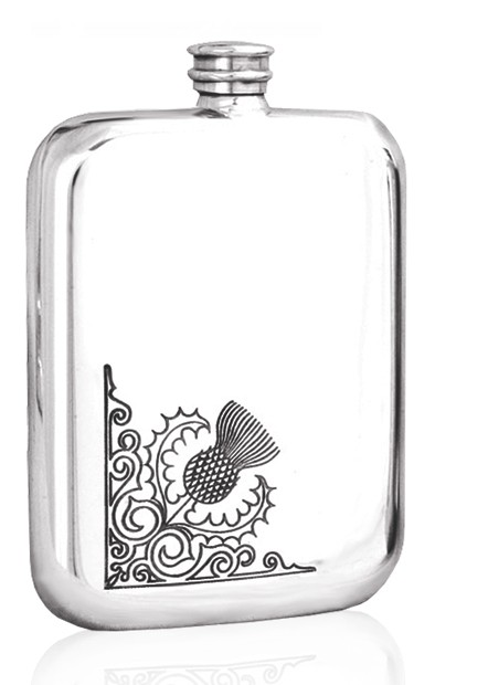 Personalised Scotland Thistle 6oz Pewter Hip Flask TSF603