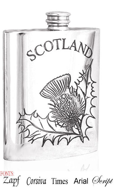 Personalised Scotland Thistle 6oz Pewter Hip Flask