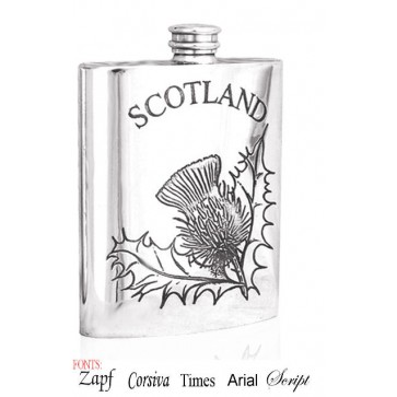 Personalised Scotland Thistle 6oz Pewter Hip Flask Perfume Sample