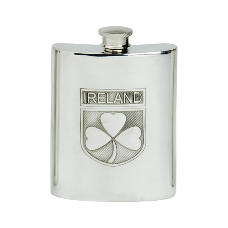 Personalised Shamrock Design 6oz English Pewter Hip Flask