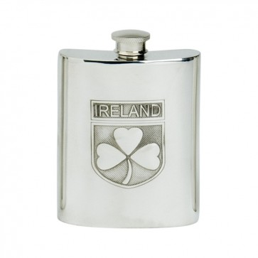 Personalised Shamrock Design 6oz English Pewter Hip Flask Perfume Sample