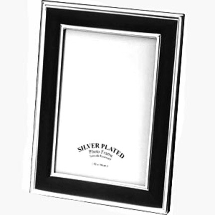Personalised Silver Plated & Black  Photo / Picture Frame
