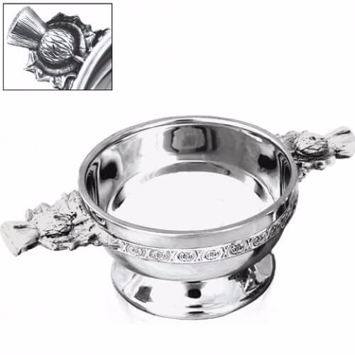 """Personalised Thistle Handle Piper Pewter Quaich - 4.5"""""""