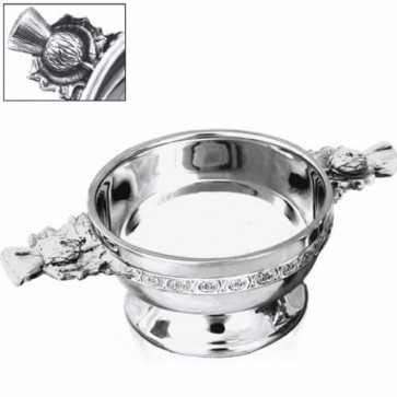 """Personalised Thistle Handle Piper Pewter Quaich - 4.5"""" Perfume Sample"""