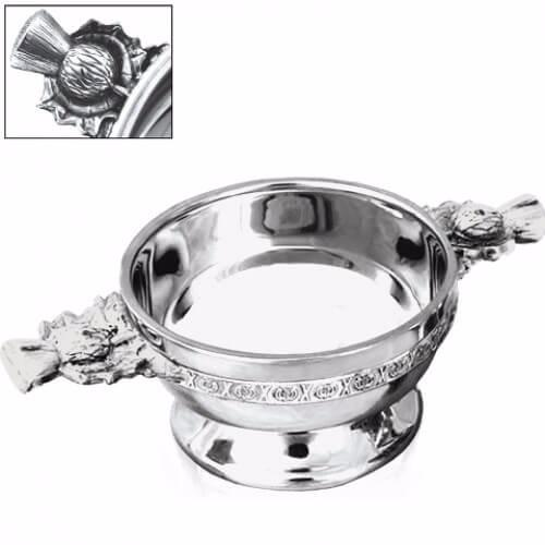 """Personalised Thistle Handle Piper Pewter Quaich - 5.5"""""""