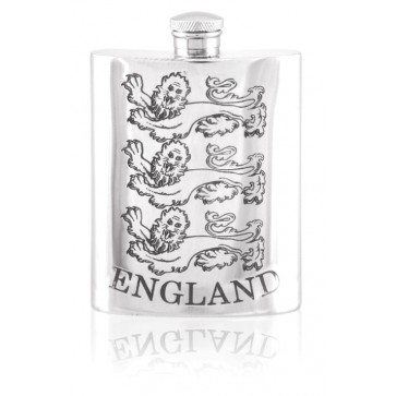 Personalised Three Lions England 6oz English Pewter Hip Flask SF570 Perfume Sample