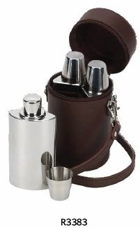 Personalised Triple Hip Flask Set And Leather Case