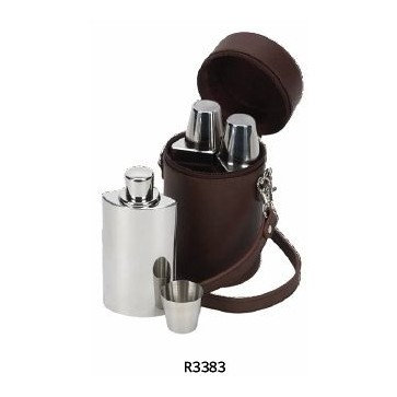 Personalised Triple Hip Flask Set And Leather Case Perfume Sample