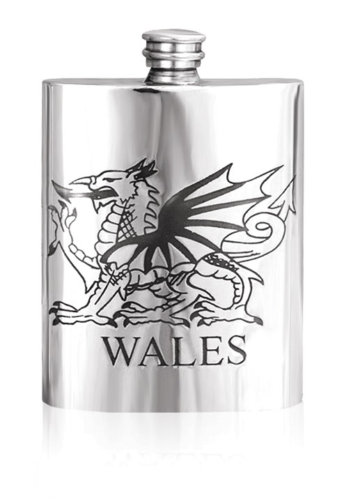 Personalised Wales Welsh Dragon  6oz English Pewter Hip Flask