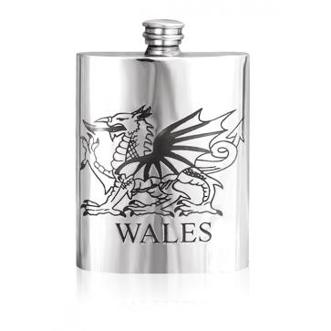 Personalised Wales Welsh Dragon  6oz English Pewter Hip Flask Perfume Sample