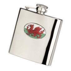 Personalised Welsh Dragon 6oz Stainless Steel Hip Flask