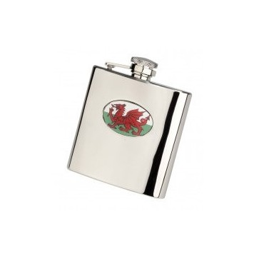 Personalised Welsh Dragon 6oz Stainless Steel Hip Flask Perfume Sample