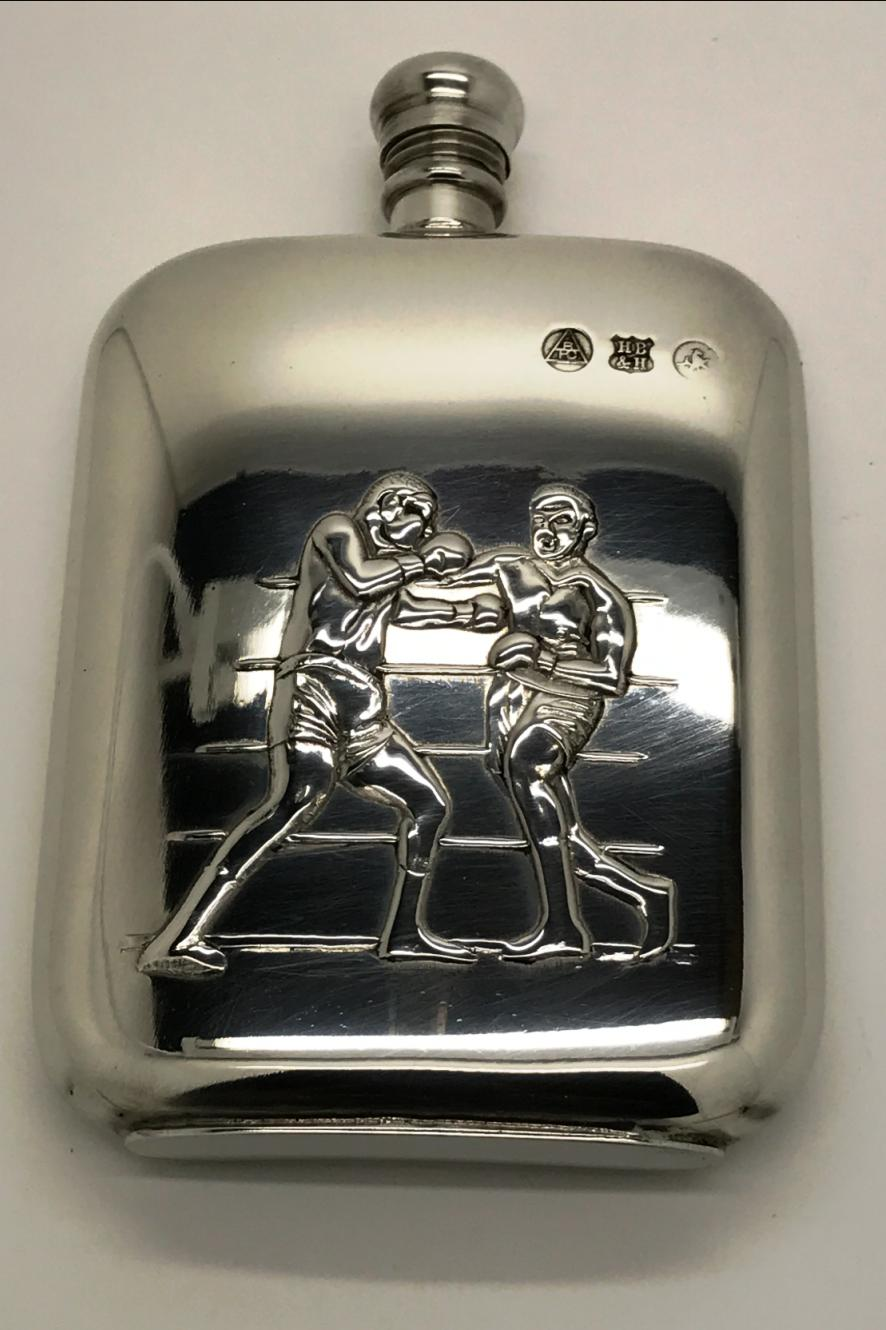 Pewter 6oz Hip Flask with Boxing