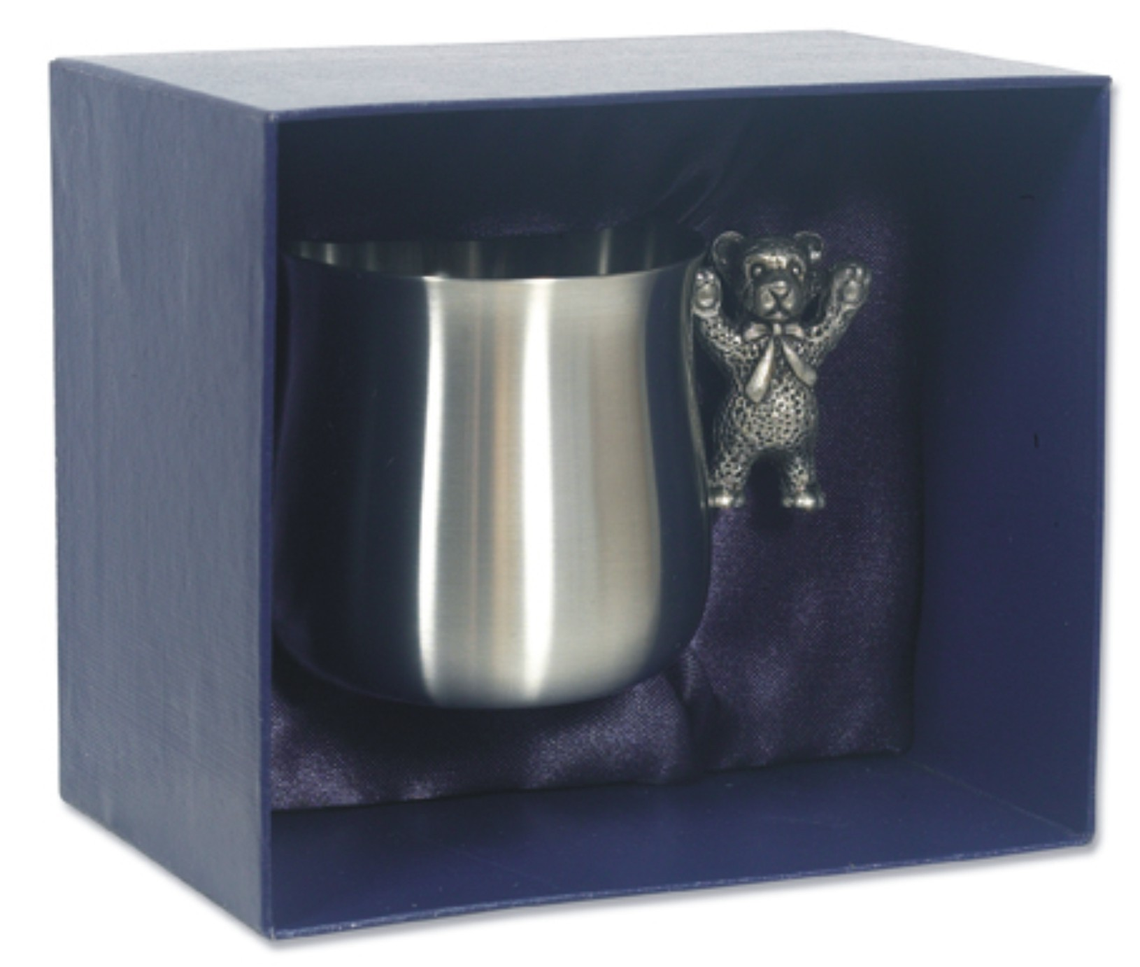 Pewter Childrens Teddy Bear Handle Cup