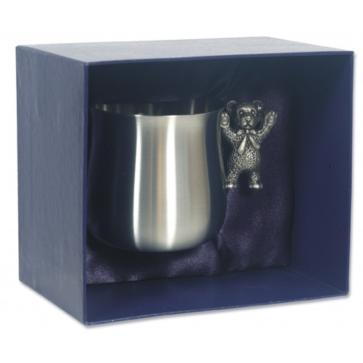 Pewter Childrens Teddy Bear Handle Cup Perfume Sample