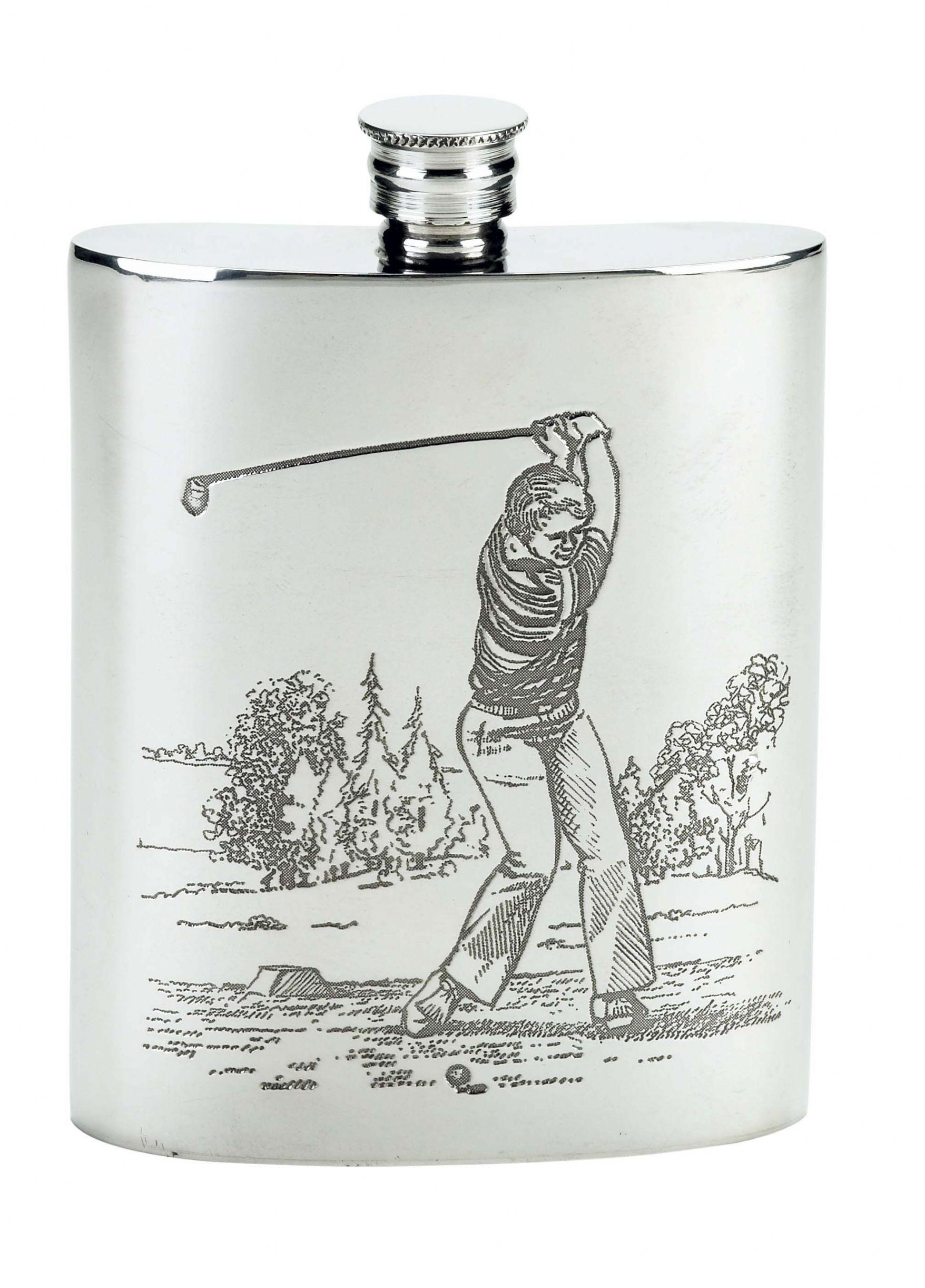 Pewter Hip Flask 6oz Golfer