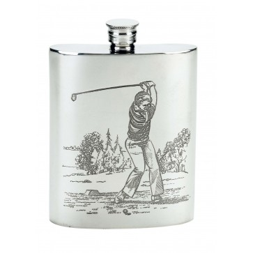 Pewter Hip Flask 6oz Golfer Perfume Sample