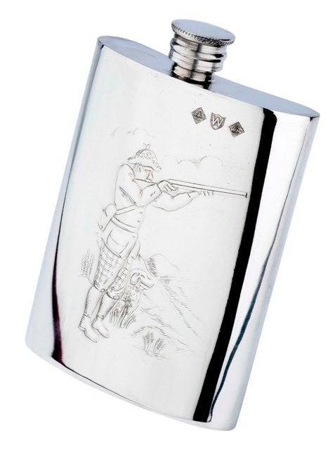 Pewter Shooting Scene Hip Flask