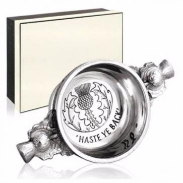 Piper Pewter Gaelic Quaich Haste Ye Back Perfume Sample