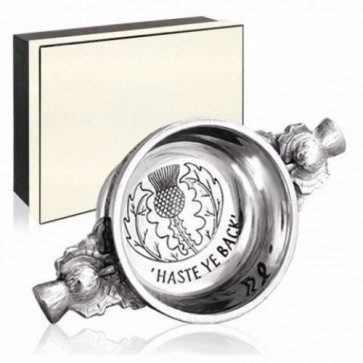 Piper Pewter Gaelic Quaich Haste Ye Back Perfume Sample