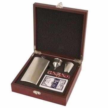 Rosewood Piano Finish Flask Games Set Perfume Sample
