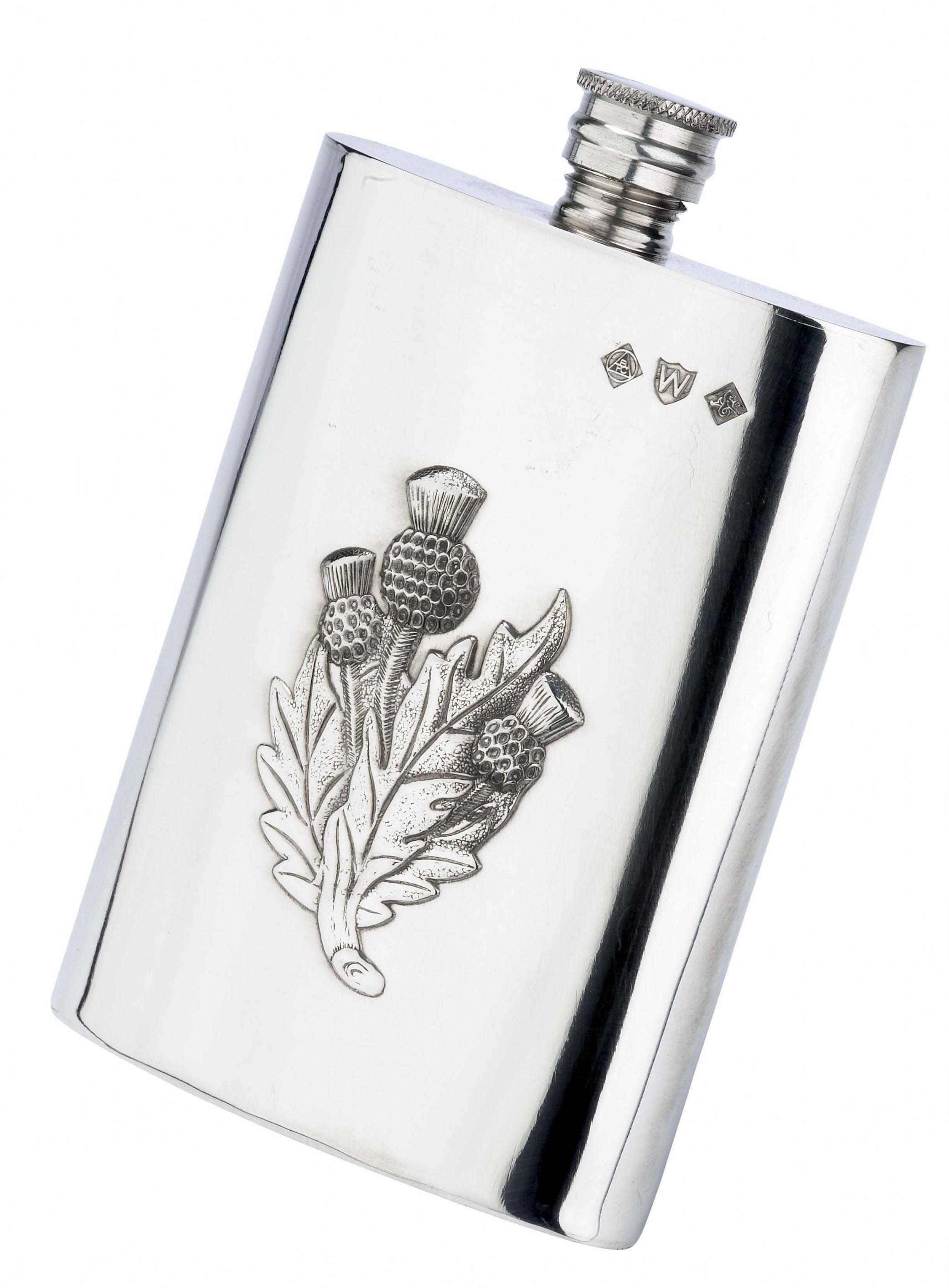 Scottish Heavy Thistle  6oz Pewter Hip Flask