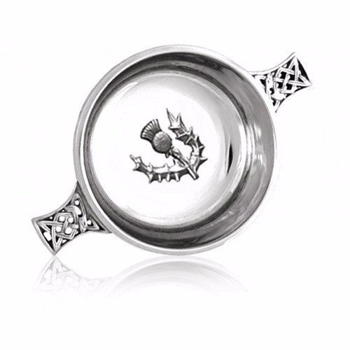 Scottish Piper Pewter Quaich With Thistle Emblem