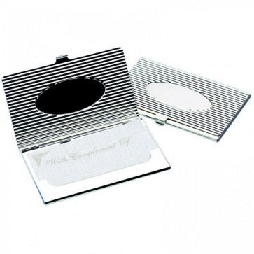 Silver 'Oval' Business Card Holder Perfume Sample