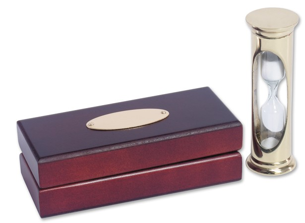 Solid Brass Egg Timer and Wooden Case