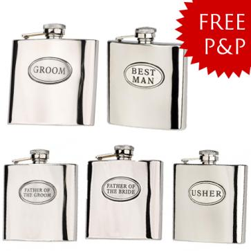 Wedding Package 4: Hip Flask Set- Father of the Bride/Groom, Usher, Groom, Best Man Perfume Sample