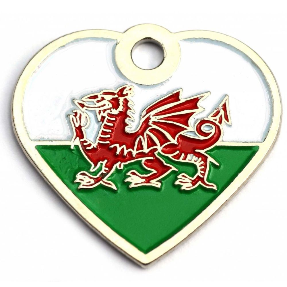 Welsh Dragon Heart Pet Tag
