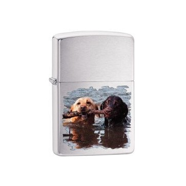 ZIPPO LIGHTER BRUSHED CHROME LABRADORS Perfume Sample