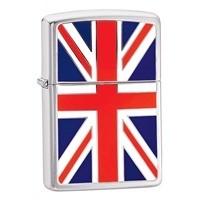 Zippo Personalised Union Jack, High Polish Chrome Genuine Zippo Lighter
